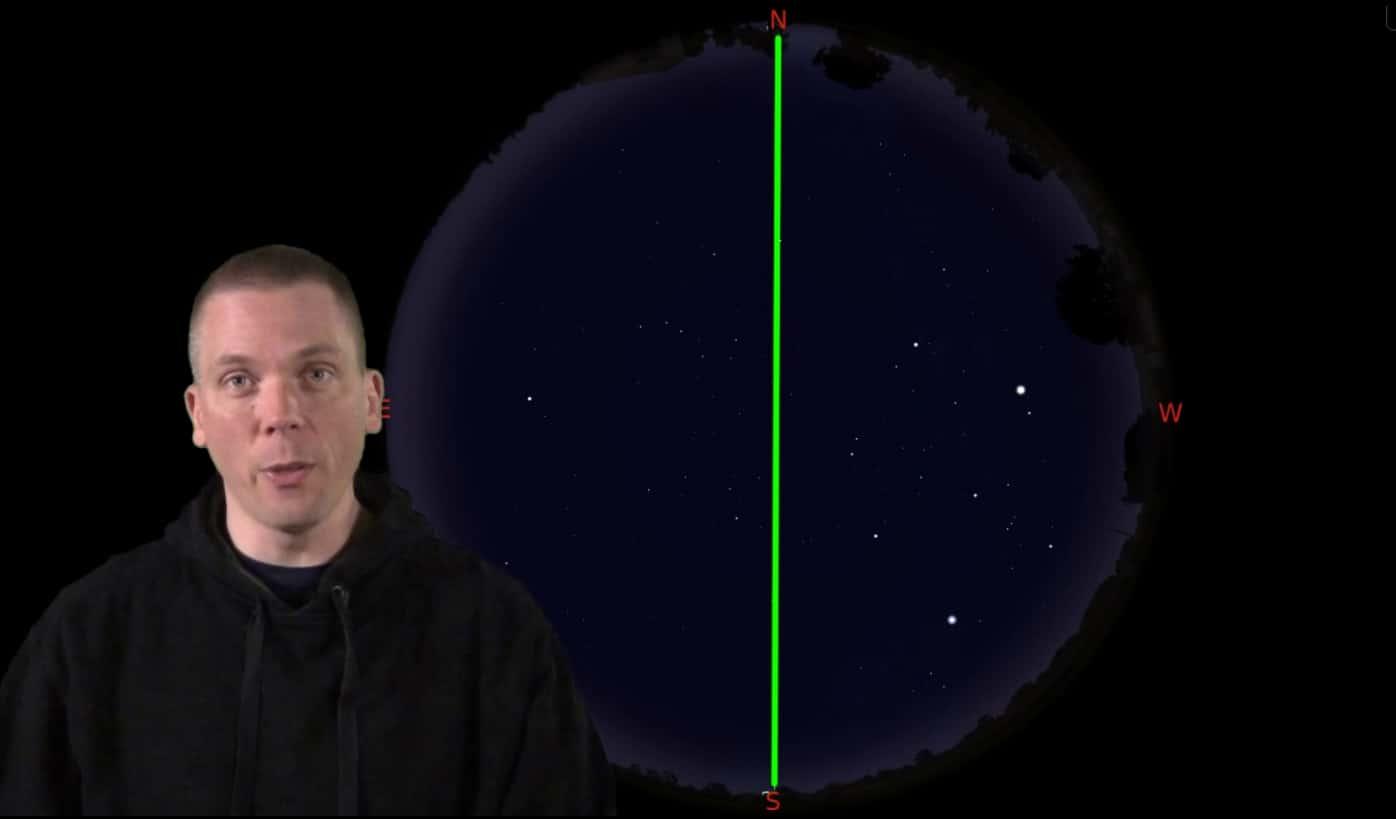 Meridian on the night sky