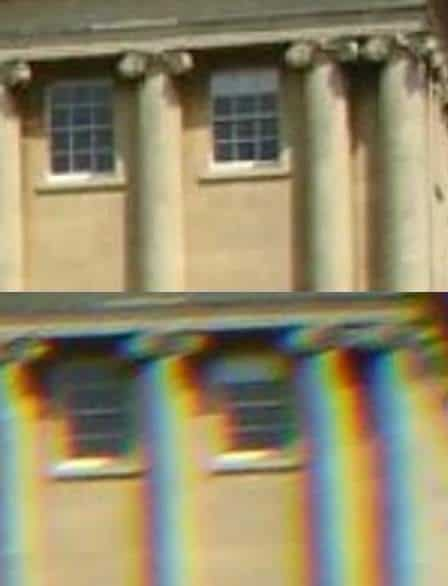 An example of chromatic abberation which is bad in telescope eyepieces