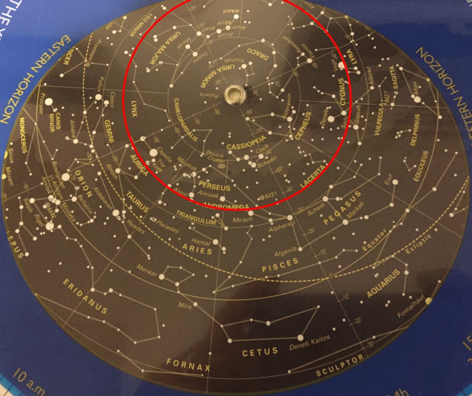 Circumpolar constellations on a planisphere