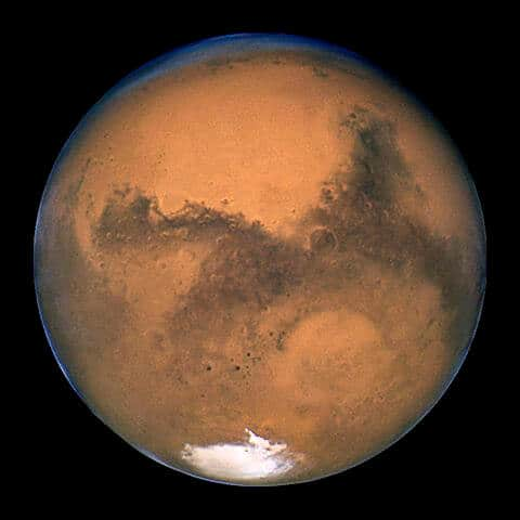 Mars showing south polar ice cap