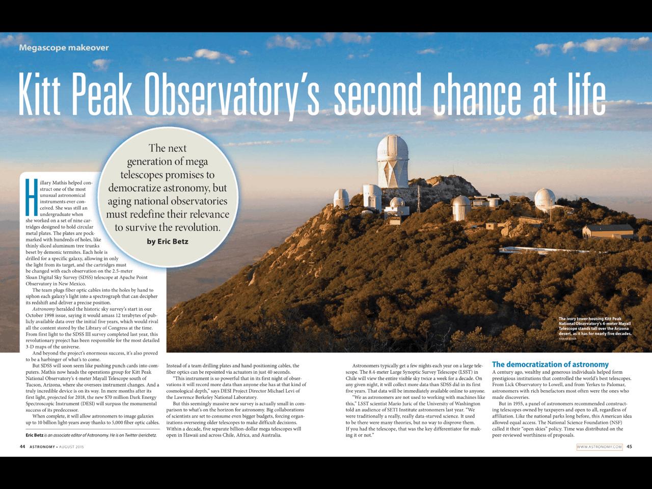 Centre Spread in Astronomy Magazine