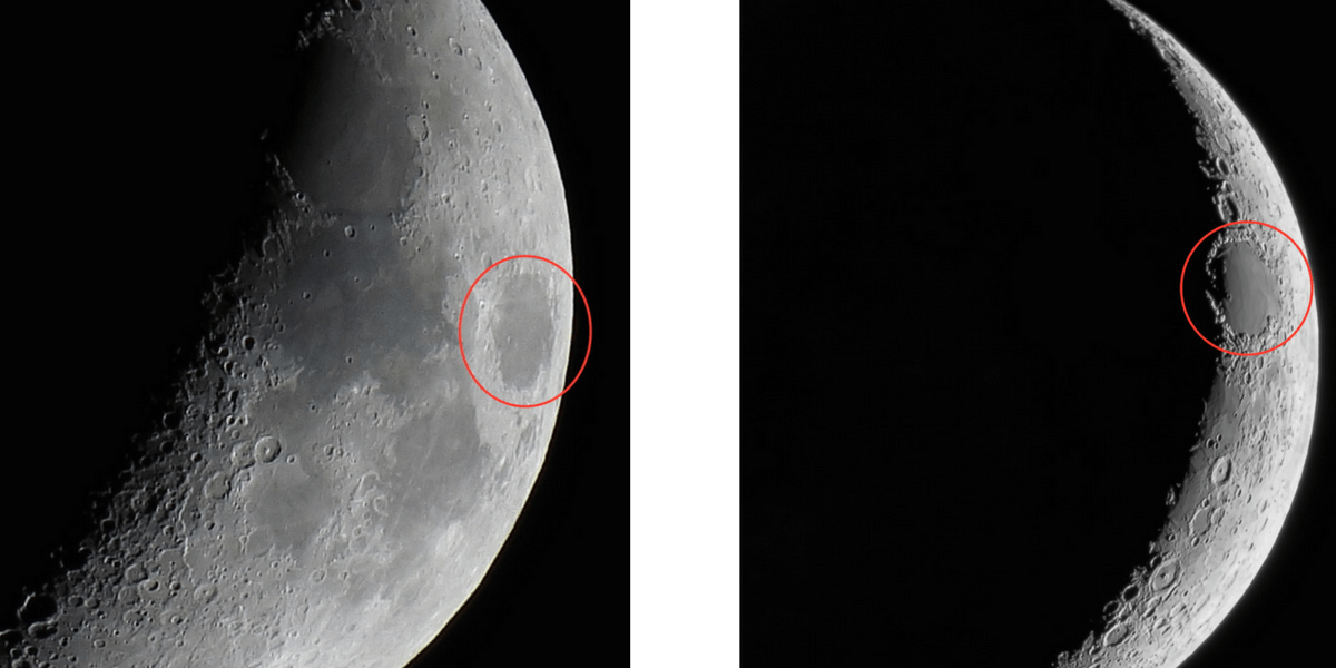 Mare Crisium near the moon's terminator