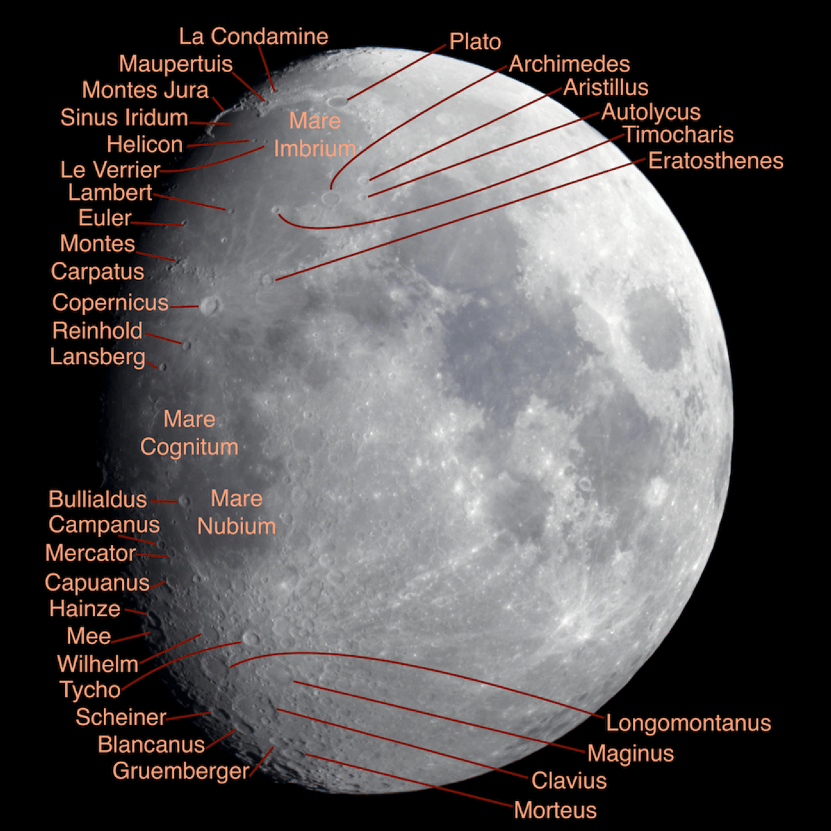 Craters to Observe on Waxing Gibbous moon (click to zoom)