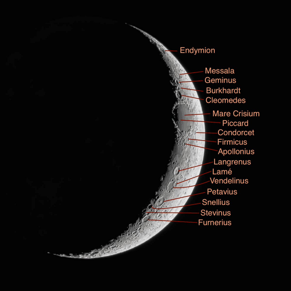 Waxing crescent lunar features
