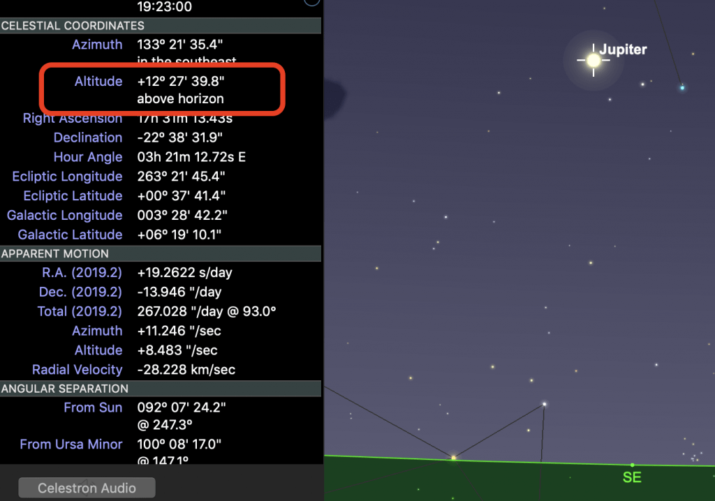 Showing Jupiter's height above the horizon in Sky Safari 6