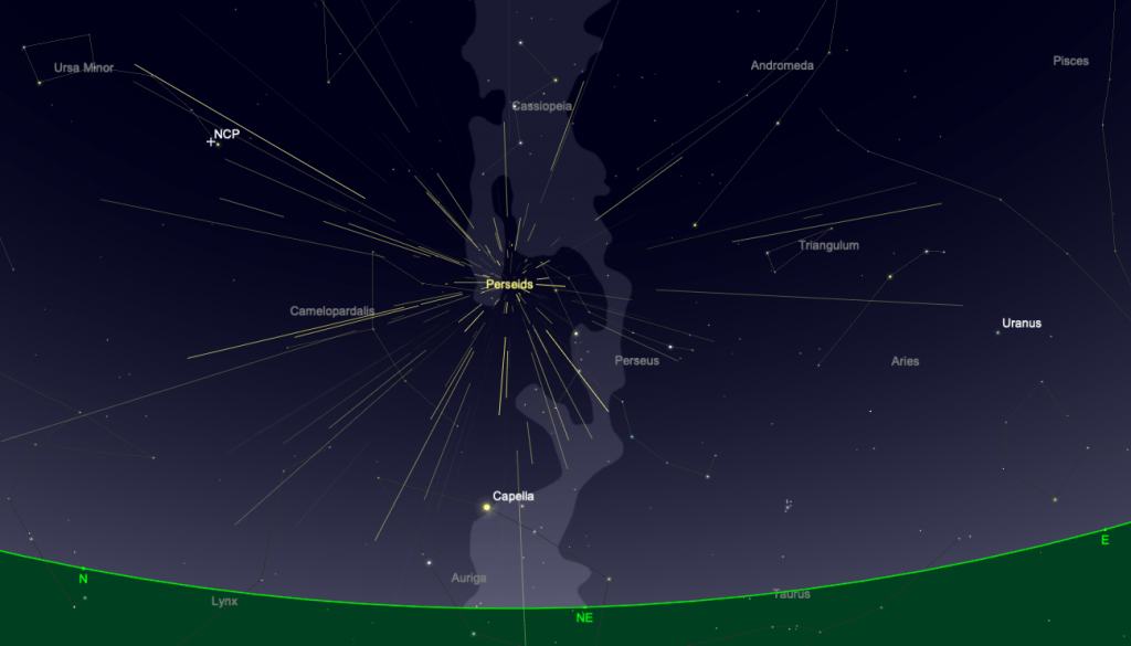View of Perseid meteor shower from Sky Safari