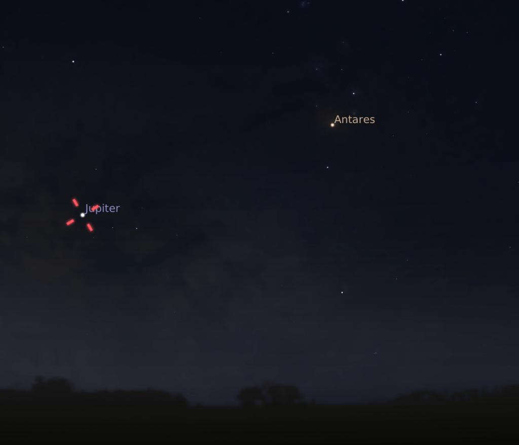Jupiter centered in Stellarium