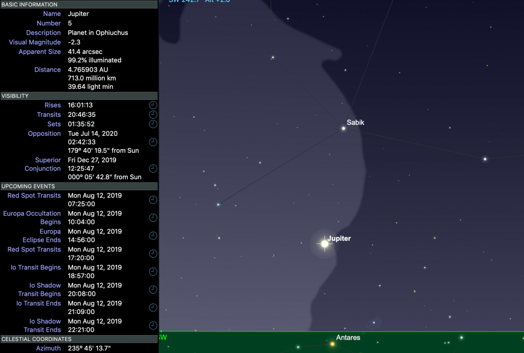 Screengrab of Jupiter and related data from Sky Safari Pro 6