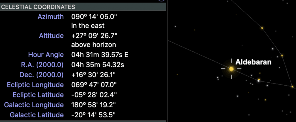 Shows the right ascension and declination coordinates for Aldebaran