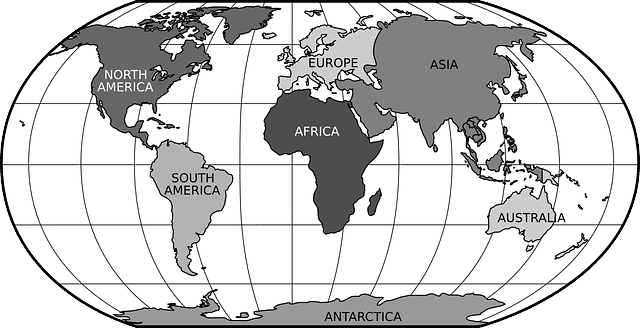 World map showing lines of latitude and longitude