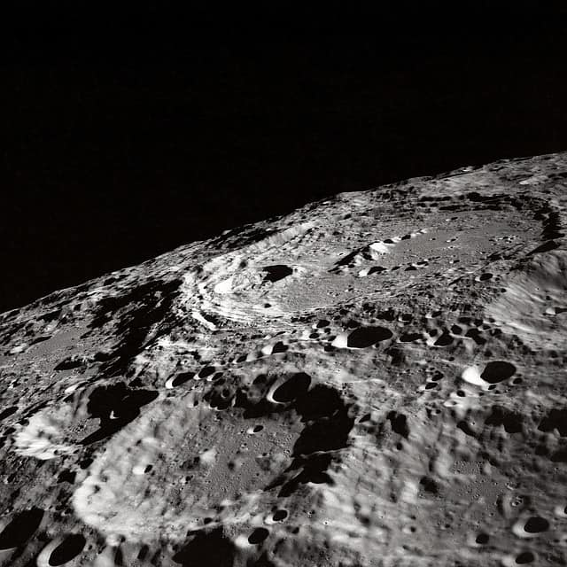 Typical crater view on lunar landscape