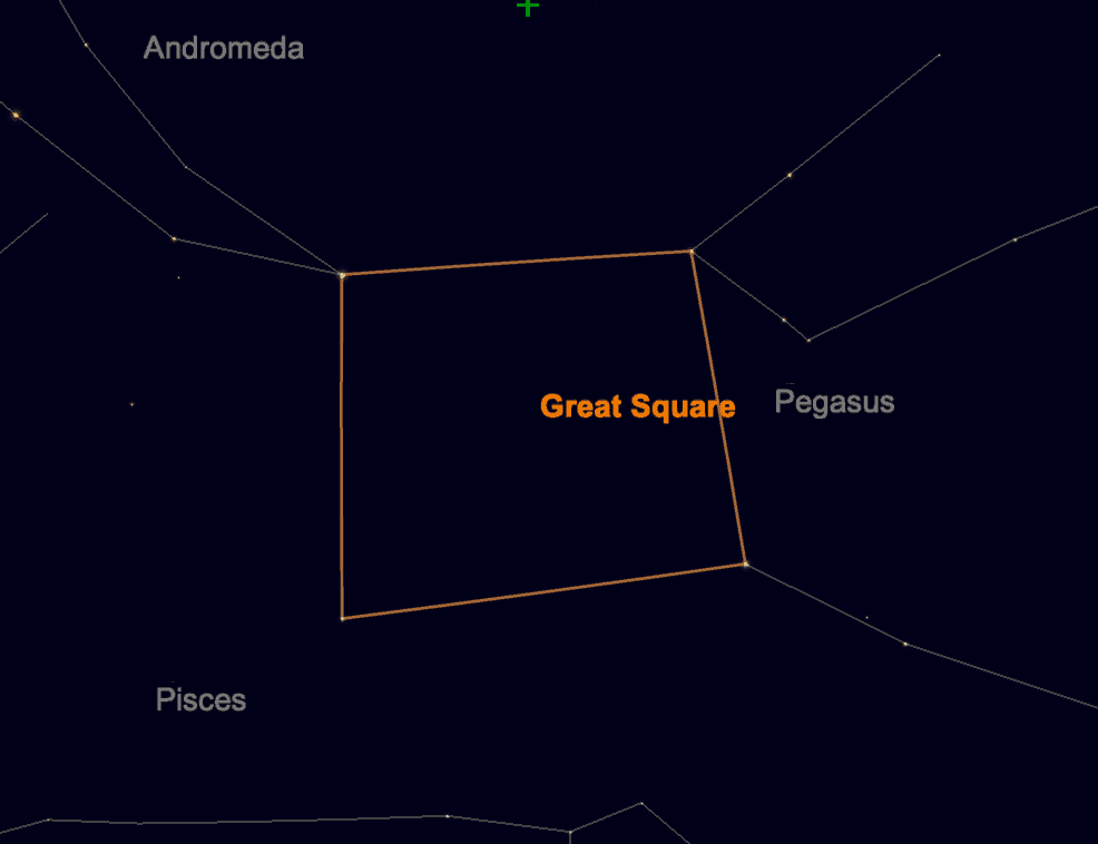 Screen grab from Sky Safari 6 showing the Great Square of Pegasus