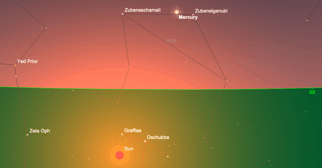 Screen grab from Sky Safari showing mercury above the horizon and the sun below it.