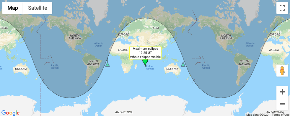 Map showing visibility of penumbral lunar eclipse on june 5th 2020