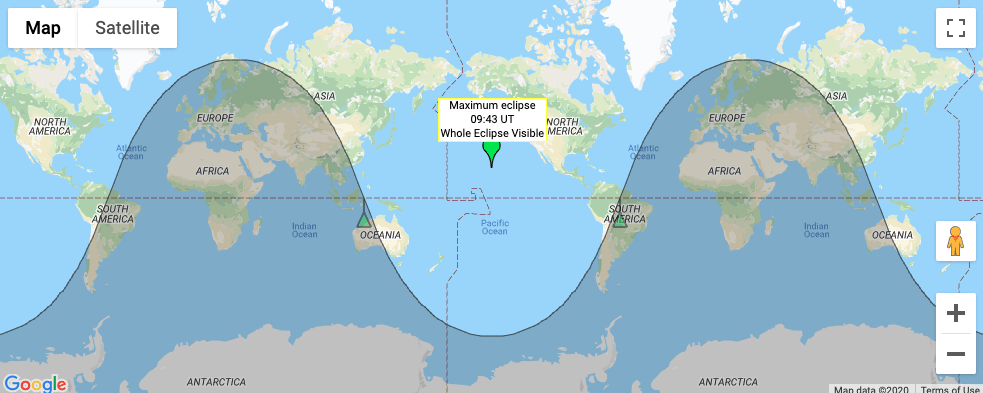 Map showing visibility of penumbral lunar eclipse on november 30 2020