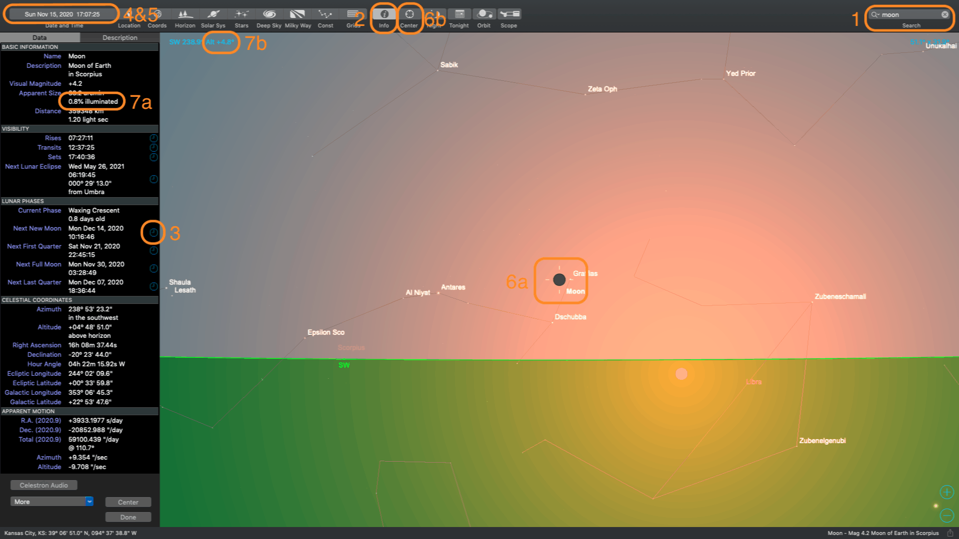 Using sky safari software to find a thin crescent moon