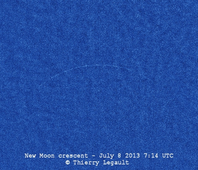 Record thinnest new moon from Thierry Legault