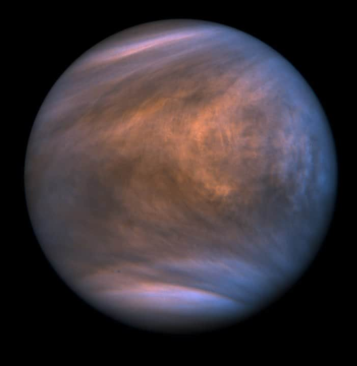 Cloud structure shown of Venus's atmosphere shown in ultra violet wavelengths