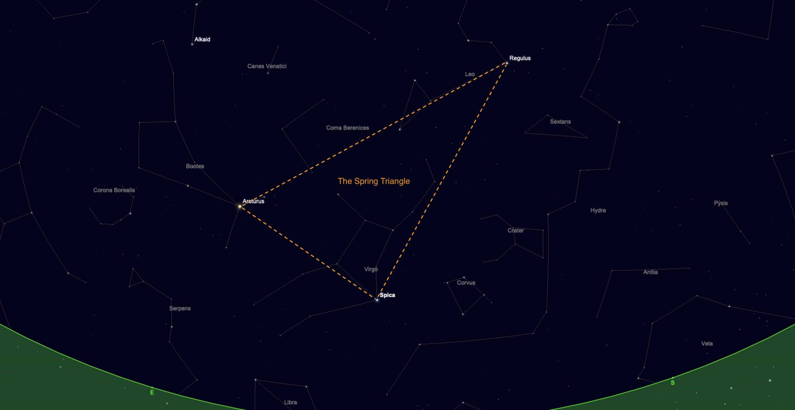 The spring triangle asterism with Spica in one corner