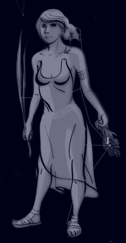 Virgo, the goddess virgin in the skies