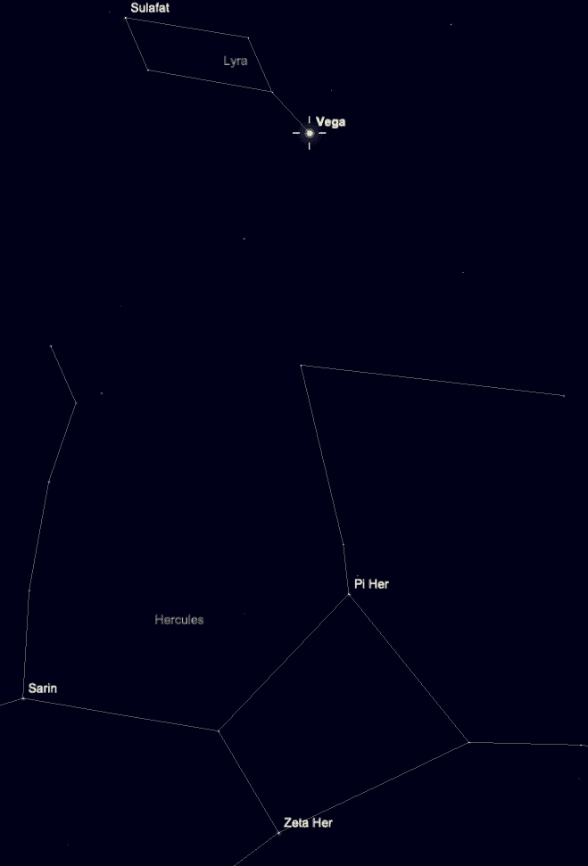 Shows the relationship between the star Vega and Hercules