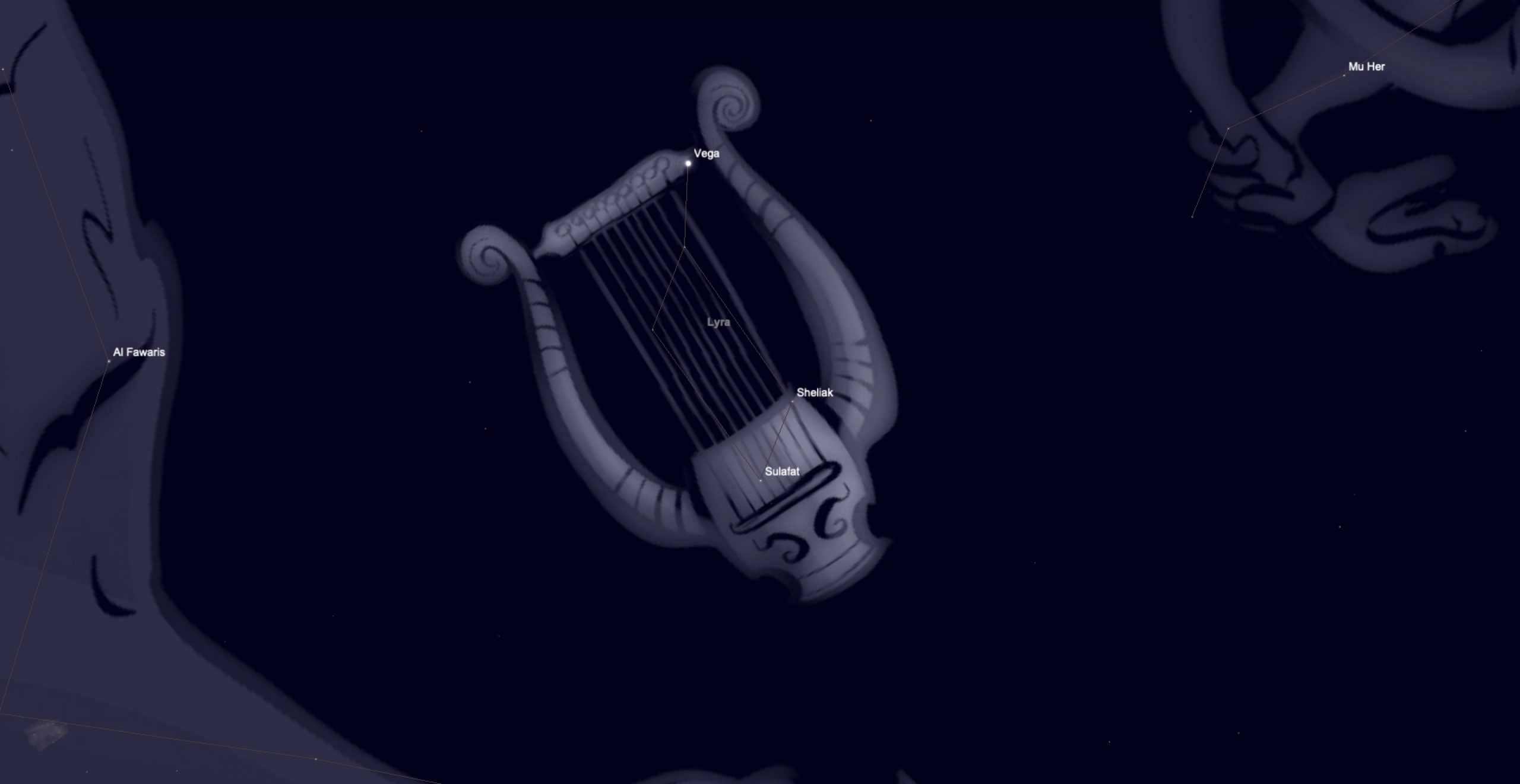 Picture of the lyre over the constellation of Lyra