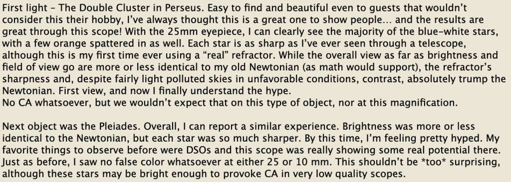 Review of astroview 120st from user on Cloudy Nights forum