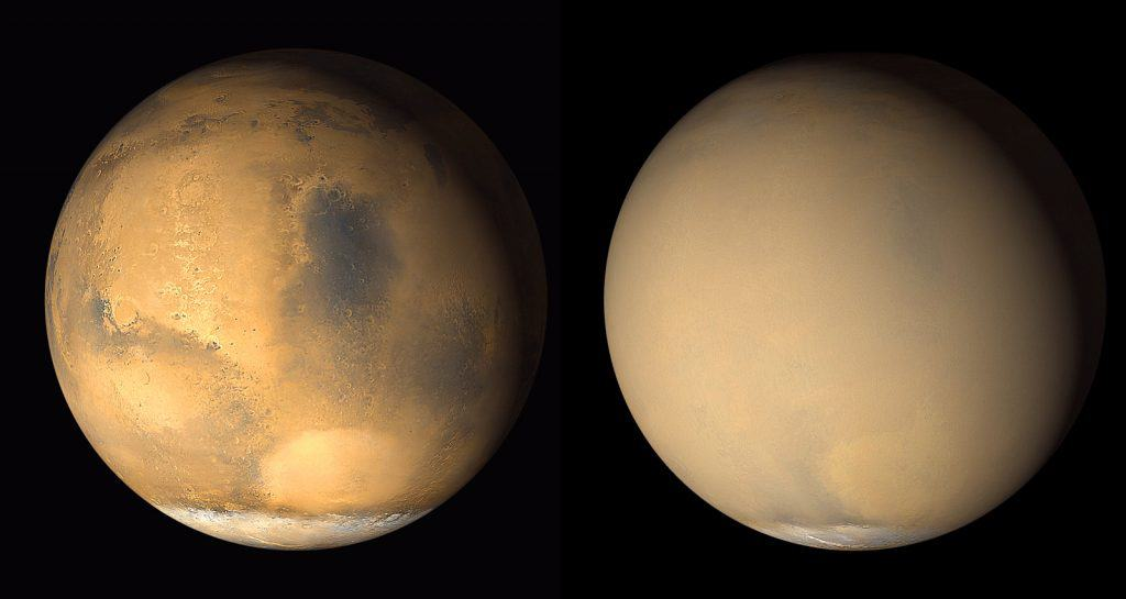 Composite image showing Mars on a clear day and under a global dust storm