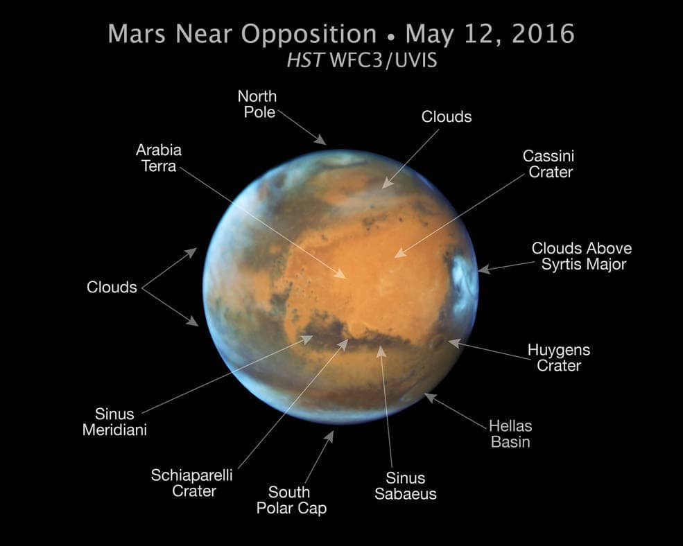 A map of major surface features on Mars from Hubble