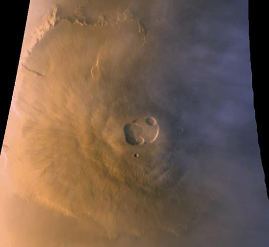 Olympus Mons from high in the Martian atmosphere