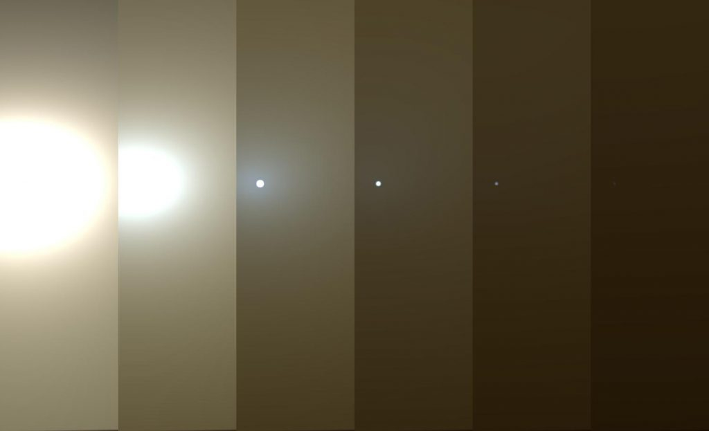 Collage of images showing the darkening sky under a dust storm