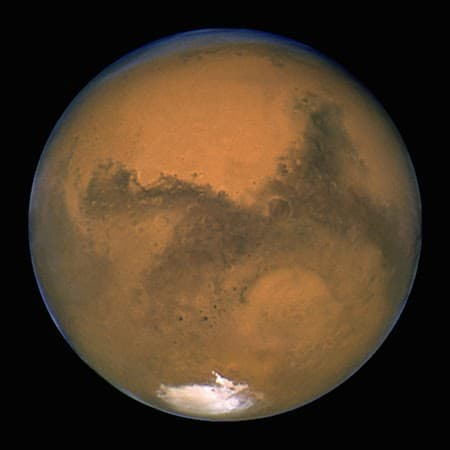 A view of planet Mars from space