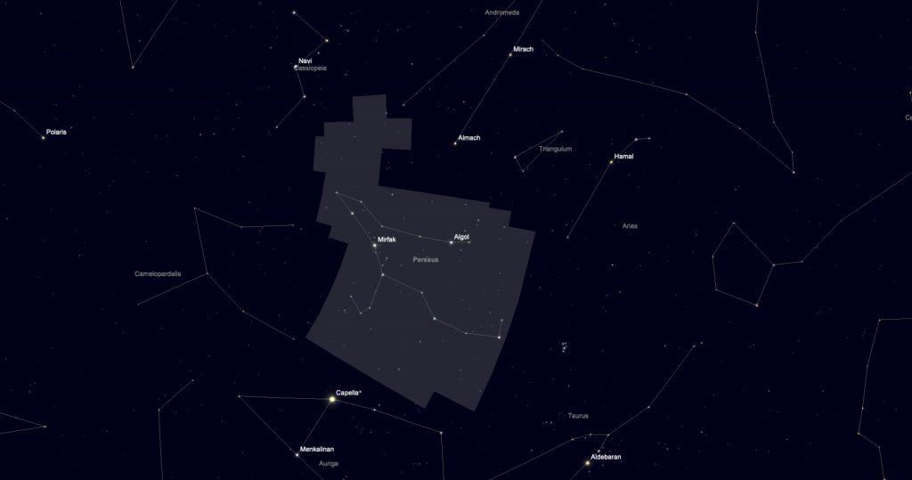 Showing the boundary of Perseus constellation