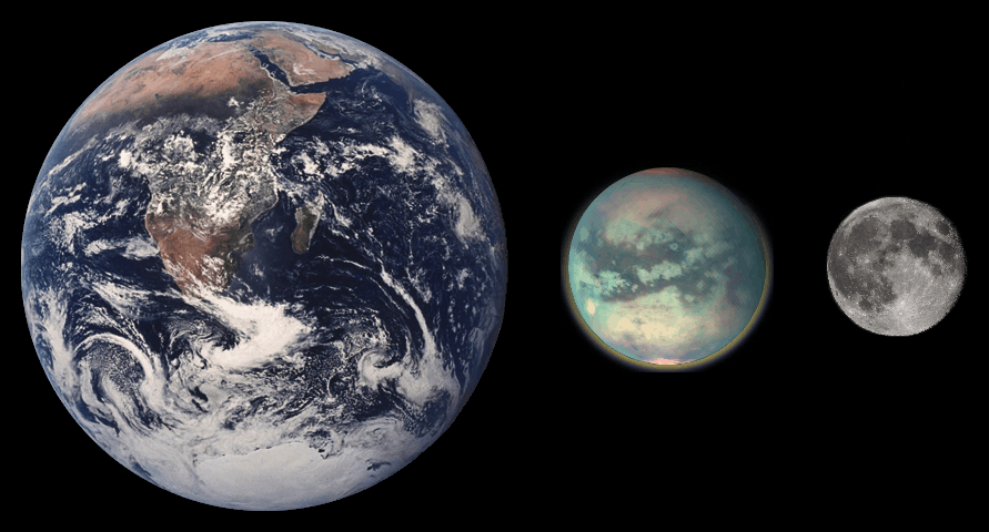 Size comparison of Earth, Titan, and the Moon