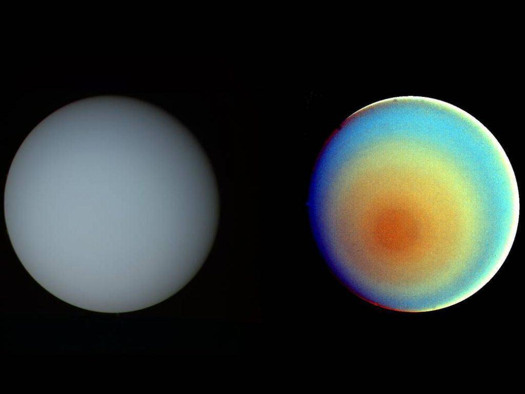 Uranus' true and false color images