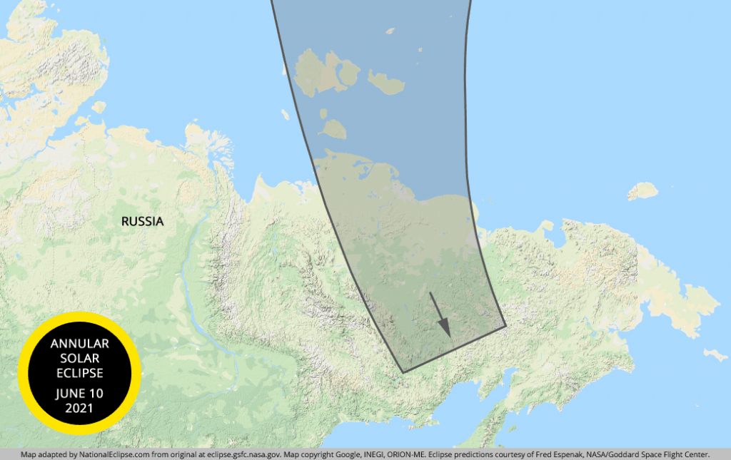 An image showing the path of annularity for the 2021 annular solar eclipse over Russia
