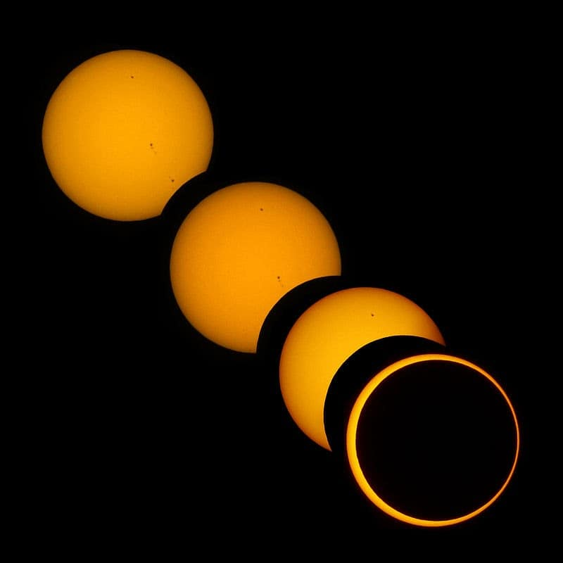 An image showing a step-by-step occurrence of an annular solar eclipse