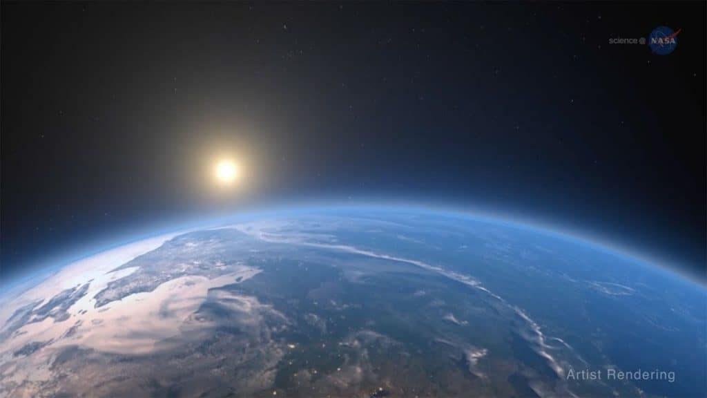 Artist's impression of the Sun rising above planet Earth