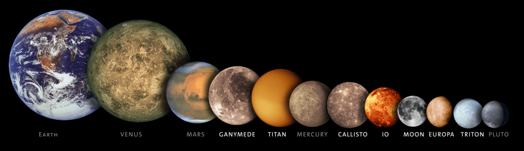 This image shows the moons in comparison
