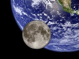 A NASA image showing the moon alongside Earth