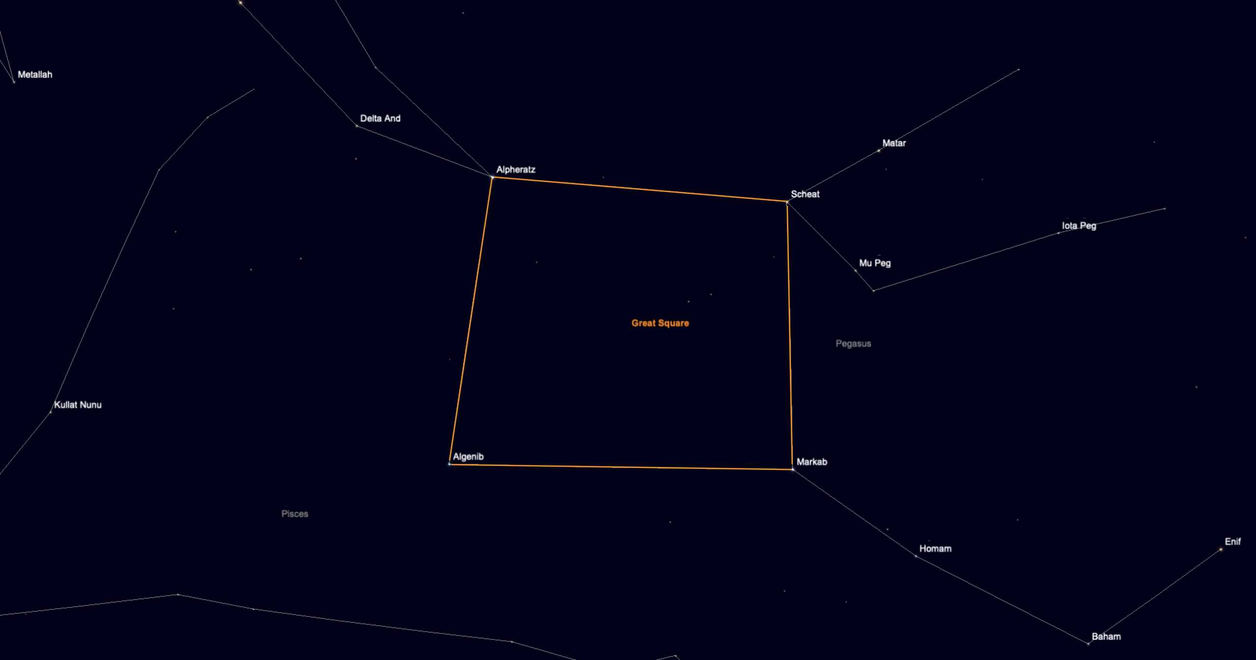 The Great Square of Pegasus asterism