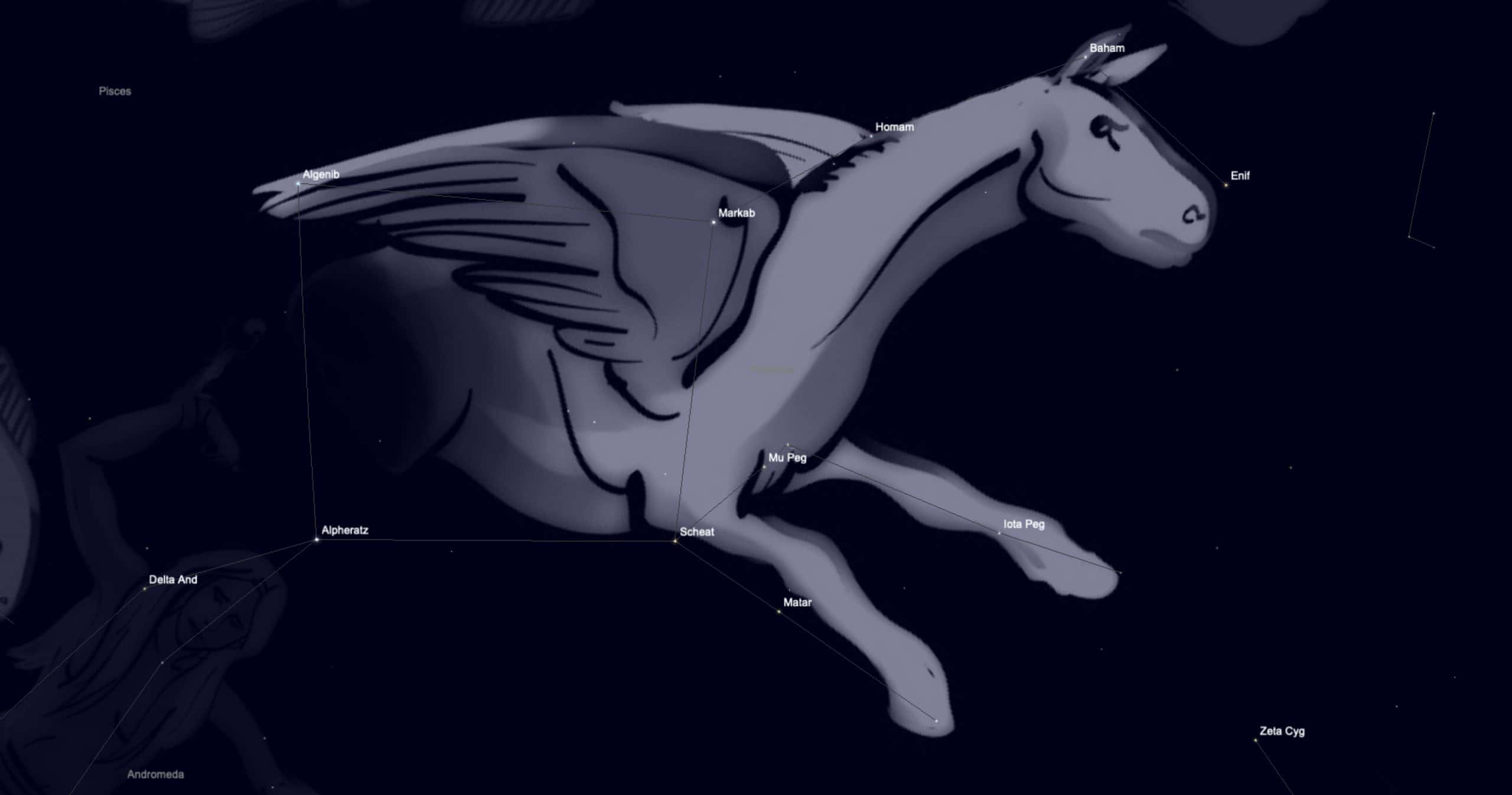 The flying horse sitting behind the constellation of Pegasus