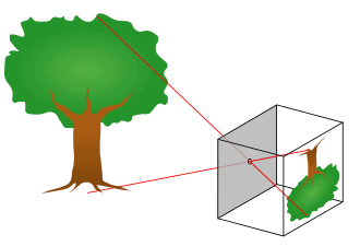 Diagram showing how a pinhole projector works