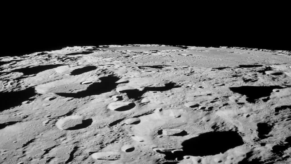 A NASA image showing the uneven surface of the Moon