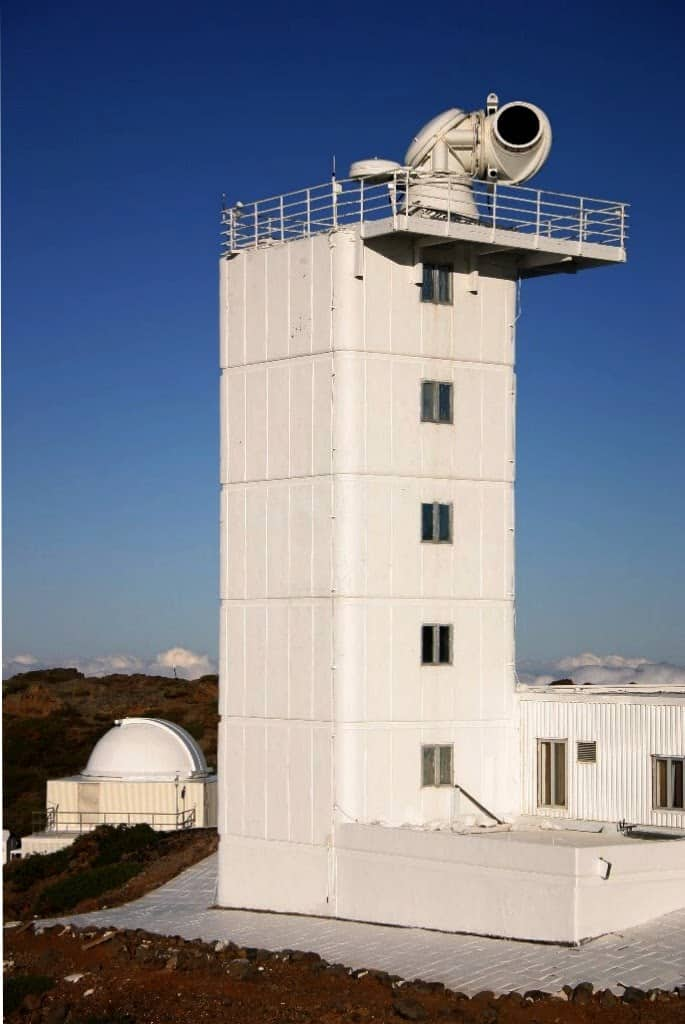 The Swedish 1-m Solar Telescope at Roque de los Muchachos Observatory, La Palma in the Canary Islands.