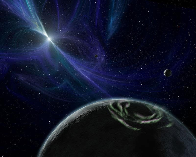 This image shows a pulsar near a planet