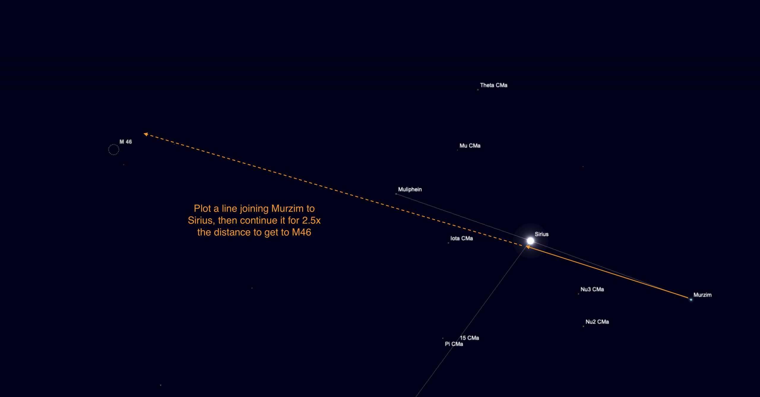 Third finder chart for M46, using Murzim and Sirius