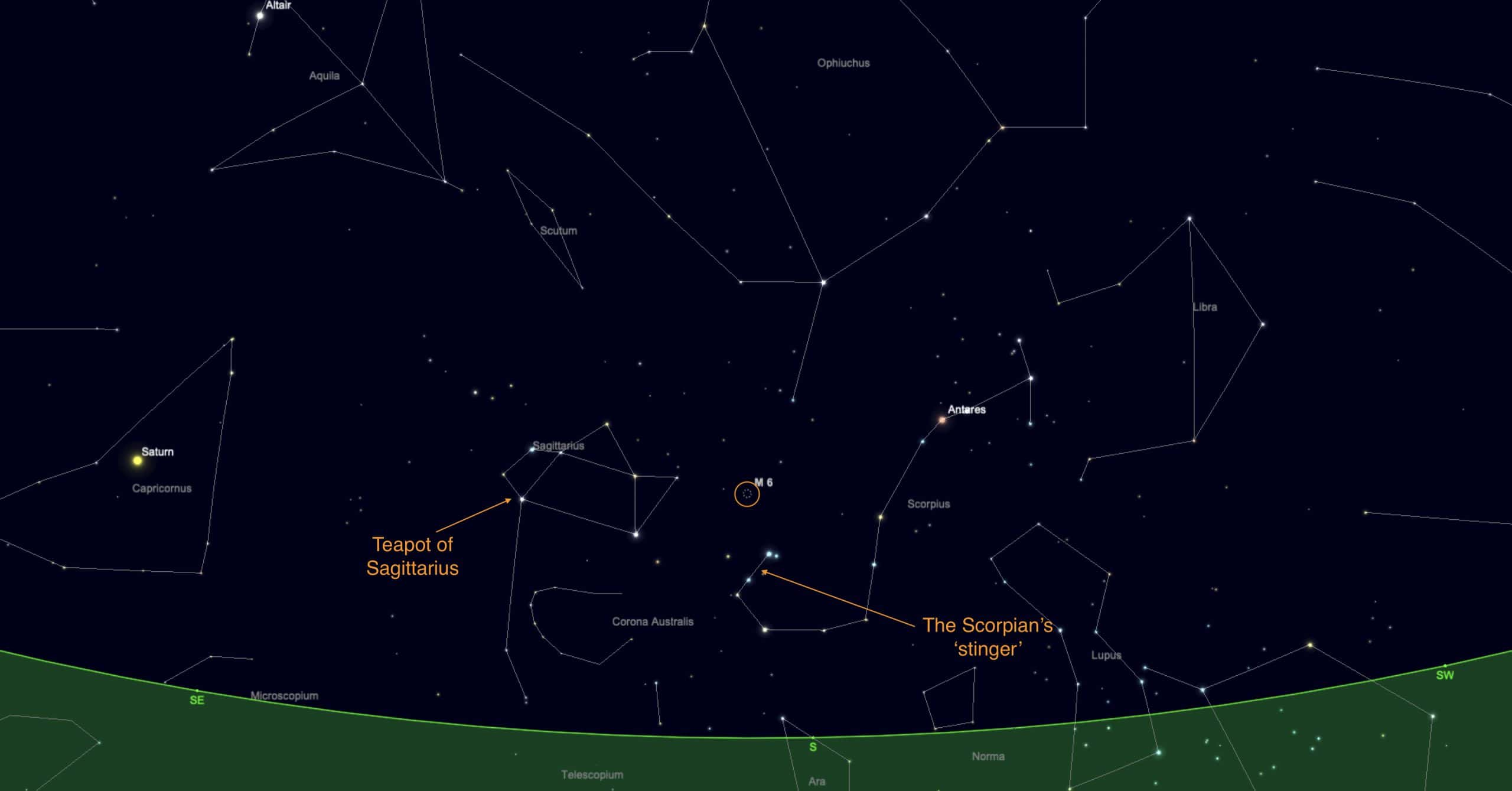 M6 between the Teapot of Sagittarius and the stinger in Scorpius's tail